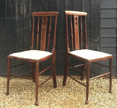 Elegant Pair Of Edwardian Bedroom Chairs / Occasional Side Chairs
