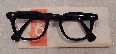 Vintage American Optical HYBRID Stadium Black 46/24 Men's Plastic Eyeglass Frame