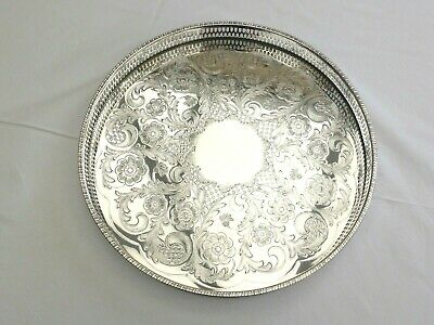 Vintage Viners Silver Plated Floral Patterned Round Gallery Tray   1430948/953