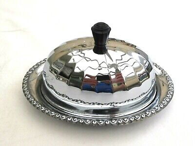 Vintage Silver Plated Oval Reed Butter Dish With Glass Liner   1440105/107