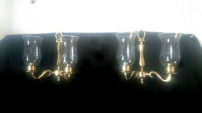 Pair Of Vintage Brass And Glass Twin Double Wall Lights