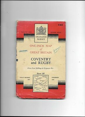 """Sheet 132 UK Ordnance Survey 7th series 1:63,360 (1"""" to 1 mile) scale Map"""
