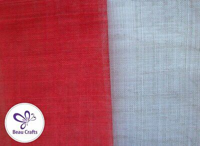 Sinamay Fabric for Millinery Hat Making Stiffened Red and White Mix 2 Pieces