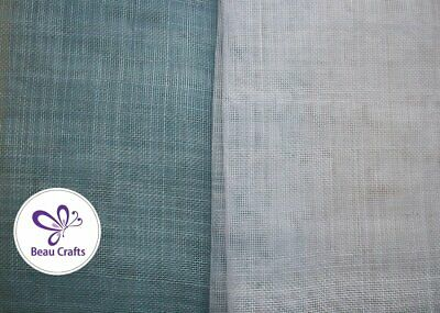 Sinamay Fabric for Millinery Hat Making Stiffened Light Blue White Mix 2 Pieces