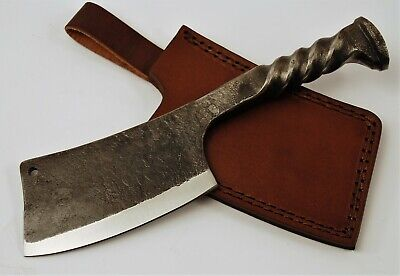Hand Forged Railroad Spike Fixed Blade Cleaver Knife with Leather Sheath