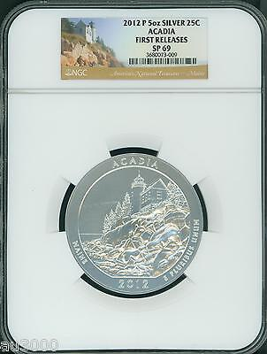 2012-P Acadia Maine National Park Atb 5 Oz. Silver Ngc Sp69 First Releases F.r.