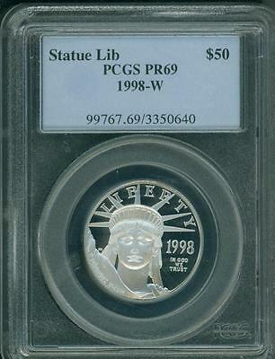1998-W $50 STATUE of LIBERTY PLATINUM 1/2 Oz. EAGLE PCGS PR69 PROOF PF69