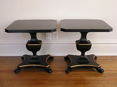 Vintage Pair Two 2 English Walnut Ebonized End Tables Black Gold Trim 50s 1950s