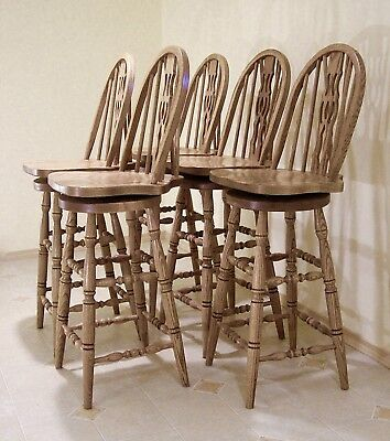 Amish-Made Oak Swivel Bar Chairs, Bent Wood, Fiddle Back, Spindles, Turned Legs