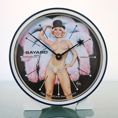 Vintage French BAYARD ASLAN Alarm CLOCK PIN UP GIRL PARIS Mantel Motion ANIMATED