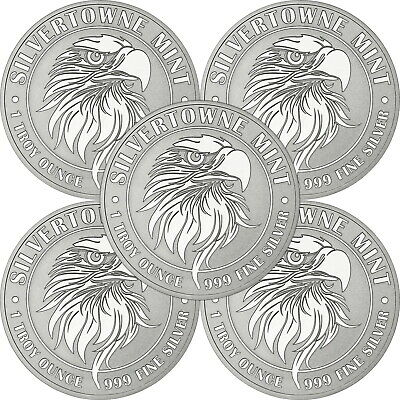 NEW! SilverTowne Mint Mighty Eagle 1oz .999 Silver Medallion 5pc