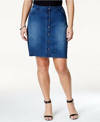 57fd6f55e Nanette Lepore Denim Jean Skirt Woman 20W Plus Button Front NEW with tags