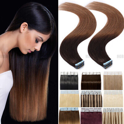 Invisible Russian Tape In Thick-Glue Remy Human Hair Extensions 100G Mix Colour