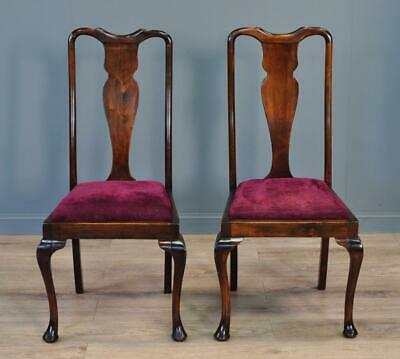 Attractive Pair Of 2 Antique Mahogany Queen Anne Bedroom Hall Chairs