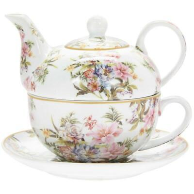 Lily Rose Flowers Tea For One Cup Mug Pot Luxury Teapot Floral Boxed Gift Set