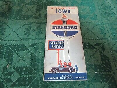 Vintage Road Map 1940 Census Standard Gas Oil Solid Condition  Lot 19-23-ec
