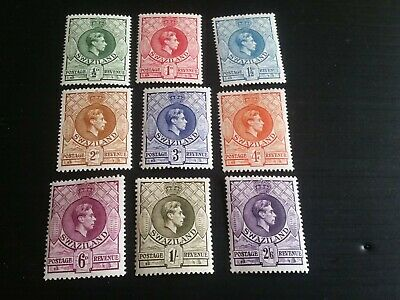 Swaziland 1938 Sg 28A-36A Definitives.short Set Mh (E)