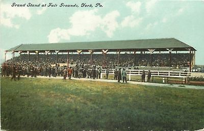 York Pennsylvania~Fair Grounds Band Stand~Crowds Gather at Fence~1910 Postcard