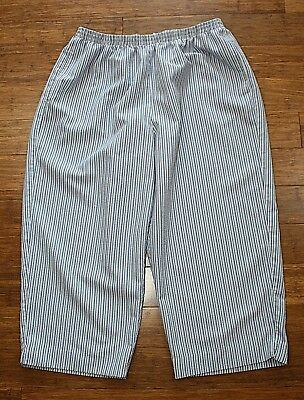 ALFRED DUNNER Women's Casual Pants Blue / White Stripes Stretchy Waist ~ Sz.18W
