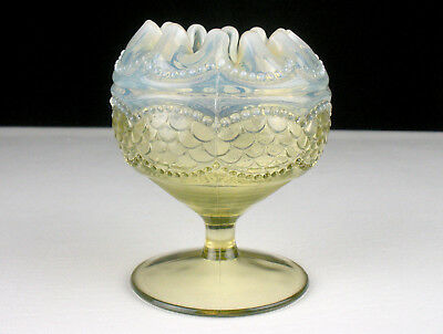 Northwood Pearls and Scales Vaseline Yellow Opalescent Footed Rose Bowl, Antique