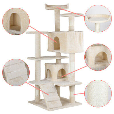 """53"""" Cat Tree Furniture Scratch Post Pet House Home Gym Kitten Play Tower Beige"""