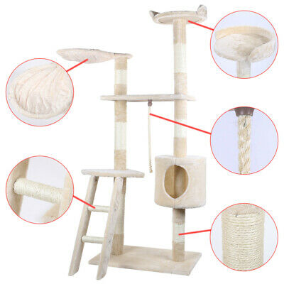 """62"""" Cat Tree Condo Furniture Scratch Post Pet Play House Home Gym Tower Beige"""