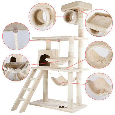 """53"""" Cat Tree Condo Scratch Post Pet Play House Home Kitty Hammock Tower Beige"""
