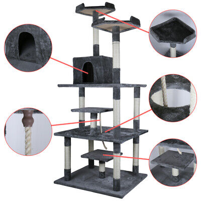 """77.5"""" Cat Tree Condo Furniture Scratch Post Pet Play House Home Gym Tower Beige"""