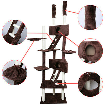 """110"""" Cat Tree Condo Furniture Scratch Post Pet Play House Home Gym Tower Brown"""