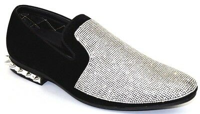 6d051265a5420 Men's Dress Casual Fancy Shoes Slip On Loafers Silver/Black Rhinestones  Smokers