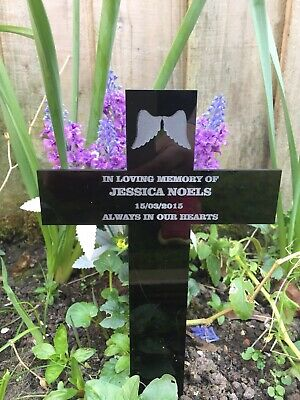 Acrylic Personalised Memorial Remembrance Cross Grave Marker