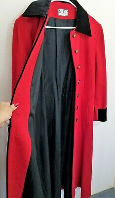 Vintage Red Ankle Long Wool Jacket Black Velvet Trim MDP Mario DePinto BEAUTIFUL