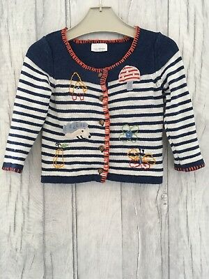 Next Girls Cardigan 9-12 Months Chunky Knit Baby Embroidery Navy Woolly Nautical