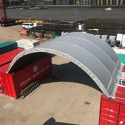 20ft Container Canopy 8.7m Wide | White PVC Canopy | Heavy Duty Steel Britcover