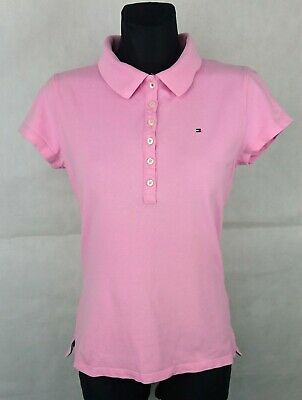 367beade Tommy Hilfiger Pink Short Sleeve Women's Polo Shirt Size:M Slim Fit Cotton  Blend