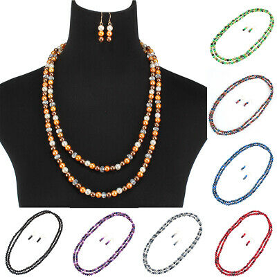 "58"" Long Fashion Strand Resin Pearl Necklace Mix Color Sweater Chain Jewerly Set"