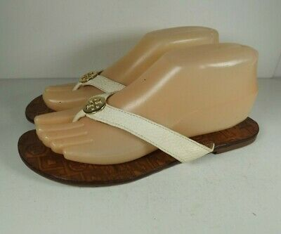 650ec053f928 TORY BURCH Thora Ivory Leather Medallion Flip Flops Thong Sandals Womens  Size 8