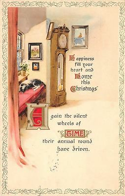 Christmas~Grandfather Clock~Dog on Window Seat~Heart & Home~1917 Gold Leaf PC