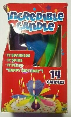 NEW Incredible Candle Plays Happy Birthday Spins Once Lit