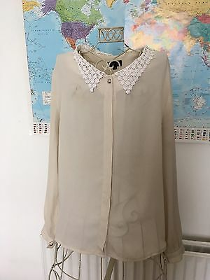 Sister Jane Embroidered Lace Collar Shirt. Size Small. Blogger/Vintage Style.