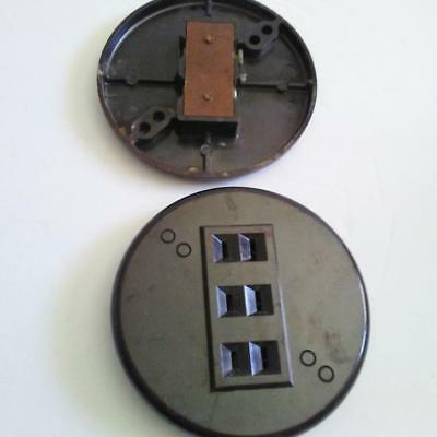 2 Electric Outlets Antique Bakelite Round w 3 Plug-ins Each Rare