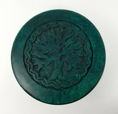 "NEW Tree of Life Mini Altar Table 6"" Carved Wood Green Handmade Wooden"