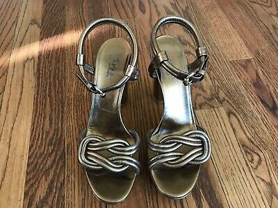 a75ed6bc17c0 GUCCI GOLD KNOTTED Leather Kotao Thong Sandals Shoes Heels size 7 US ...