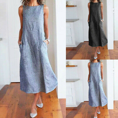 078cb8dabd Fashion Women Casual Striped Sleeveless Dress Crew Neck Linen Pocket Long  Dress