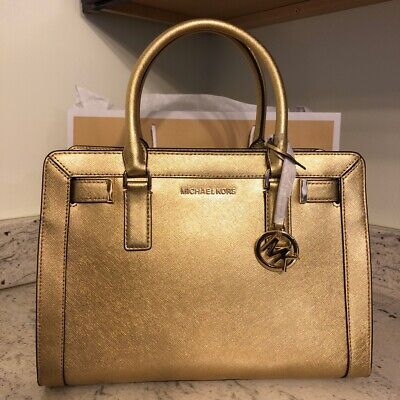 b7d5d094f97659 NEW $368 Michael Kors Dillon Leather Top Zip Pale Gold Satchel Crossbody  Handbag