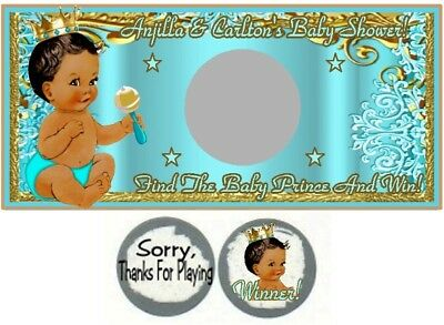 30 Royal Ethnic Prince Baby Shower Bubble Labels Stickers Birthday Party Blue