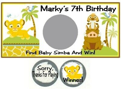 10 Baby Lion King Simba Birthday Party Shower Scratch Off Game Card Narla Ticket