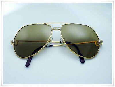 6f479e1989b VINTAGE CARTIER VENDOME Medium 59Mm Brown Lens Sunglasses France 18K ...