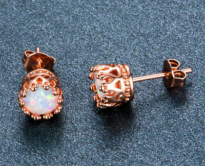 Fire Opal Crown Rouind Stud Earrings in 18K Rose Gold Plated Sterling Silver