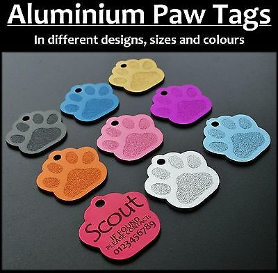 Aluminium PAW ID Tag with Personalised Back-Engraving, Dog, Cat, Pets,Tags